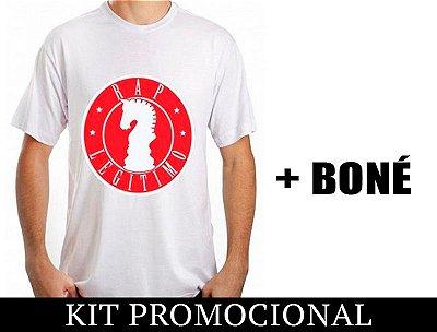 Kit Camiseta branco e vermelho + Boné Rap Legítimo