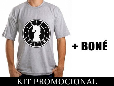 Kit Camiseta cinza e preto + Boné Rap Legítimo