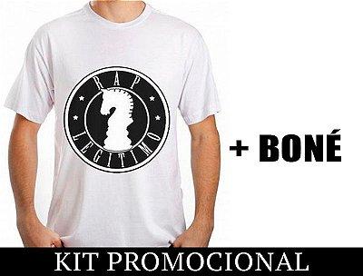 Kit Camiseta branco e preto + Boné Rap Legítimo