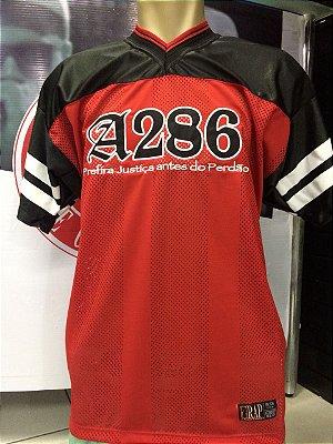Camiseta A286, bordada, Prefira Justiça antes do Perdão - Preto/vermelho