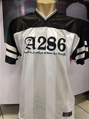 Camiseta A286, bordada, Prefira Justiça antes do Perdão - Preto/Branco/Prata
