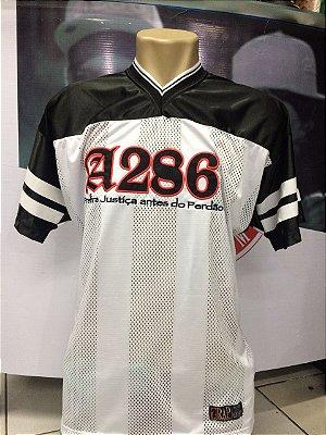 Camiseta A286, bordada, Prefira Justiça antes do Perdão - Preto/Branco/vermelho