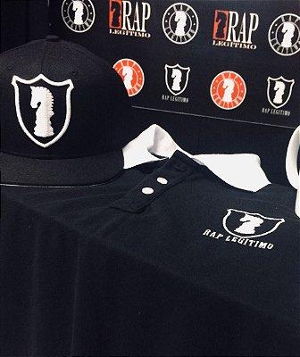 Kit Camisa polo preta e branca + Boné Rap Legítimo