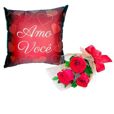 Trio de Rosas Vermelhas + Almofada Amo Você