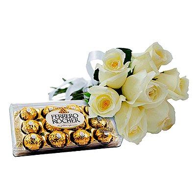 Rosas Brancas com Ferrero Rocher
