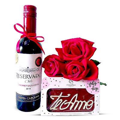 Vinho + Trio de Rosas + Chocolate