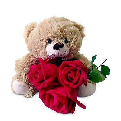 Urso d Pelúcia + Rosas Vermelhas