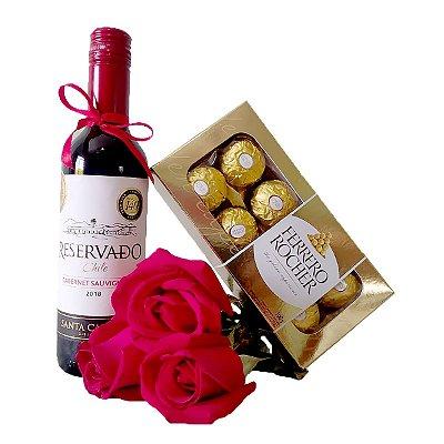 Vinho + Rosas Vermelhas + Ferrero Rocher