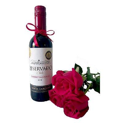Vinho Chileno + Rosas Vermelhas