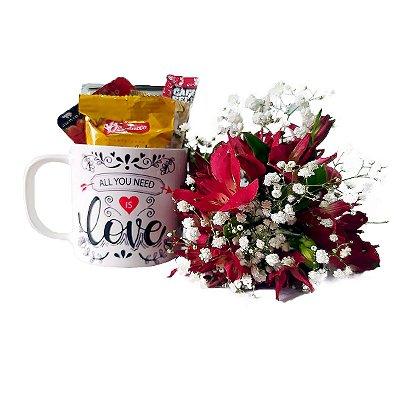 Mini Café + Caneca de Porcelana + Flores