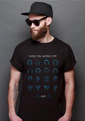 Camiseta Music ON World OFF