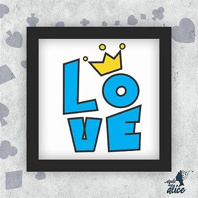Quadro LOVE AZUL - Fundo Branco