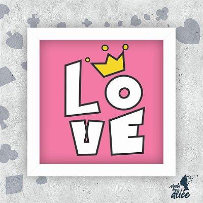 Quadro LOVE BRANCO - Fundo Rosa