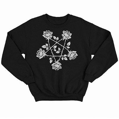 Blusão Moletom Pentagrama de Rosas