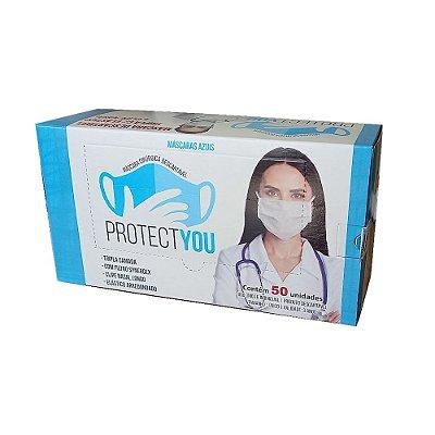 Máscara Descartável Tripla C/ Elástico e Clipe Nasal caixa c/50 unidades - PROTECT YOU