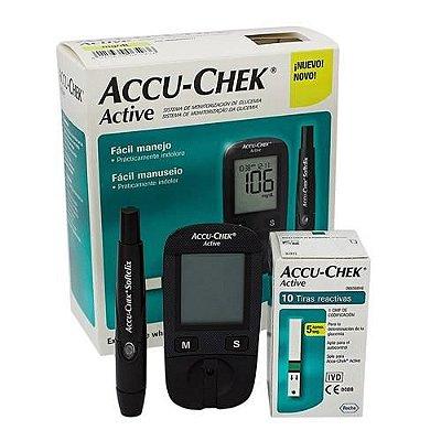 Kit AccuChek Active Roche c/ 10 fitas e 10 lancetas