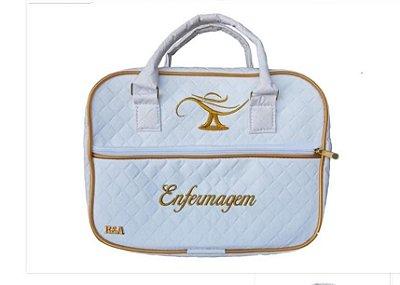 Bolsas Luxo enfermagem branca com detalhes em dourado