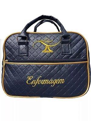 Bolsa enfermagem luxo preta com bordados dourado