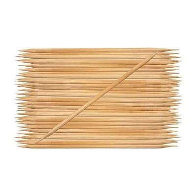 Palito de Bambu Para Manicure 2 pontas C/50 Unidades