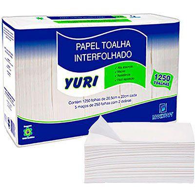 Papel Toalha Interfolha 20,5x22cm 2 Dobras Pct c/ 1250 Folhas Yuri Manikraft
