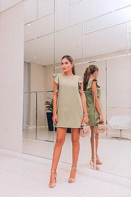 Vestido Beatriz Verde Militar em Crepe Lugano