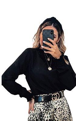 Blusa Beth manga longa preto