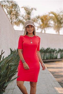 Vestido malha canelada Layla Pink