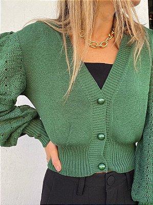 Casaqueto Renda Tricot Verde