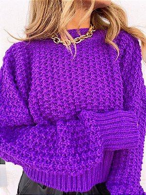 Blusa Tricot Pipoca Violeta