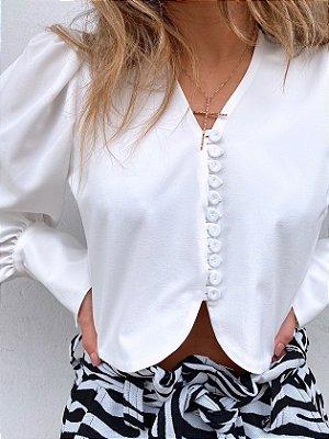 Camisa Cropped Bottons Branca