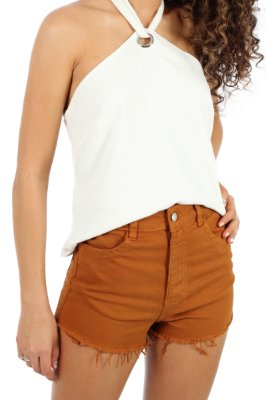 Shorts Hot Pant Sarjado Ocre