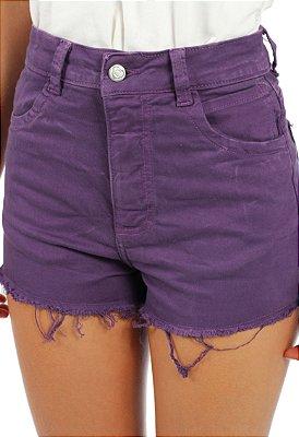 Shorts Hot Pant Sarjado Roxo
