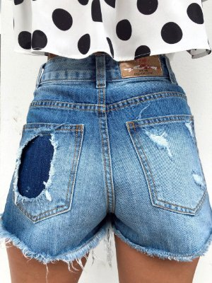 Shorts Hot Double Denim Destroyed