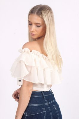 Cropped Organza Lari Off White
