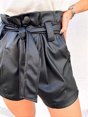 Shorts Leona Couro Preto