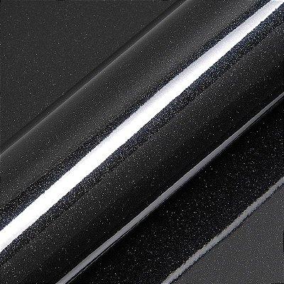 "Adesivo para Envelopamento Automotivo Alto Brilho Glitter Cor ""Black Sparkle Gloss"" Kit Carro Completo"
