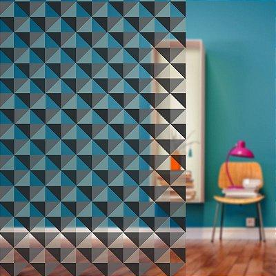 """Película Decorativa para Vidro Comercial """"Mosaico Triangular Preto"""""""