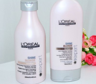 2 kits de shampoo e condicionador shine blonde e force relax