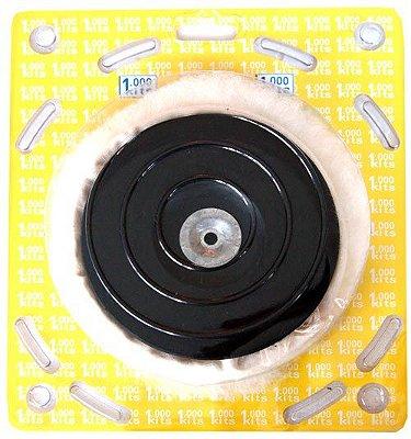 Kit Polimento Com Boina Lã + Disco + Adaptador Para Furadeira