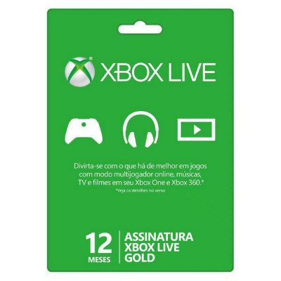 Cartão Vale Presente Xbox Live 12 Gold Meses Brasil 12 Meses Brasileira Gift Card
