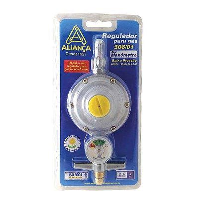 Registro Regulador Gás Manômetro 2kg Aliança 506/01