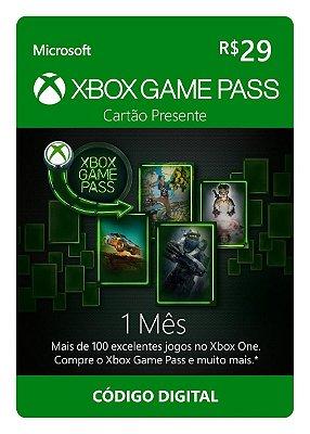Cartão Vale Presente Xbox  Game Pass 1 Mês R$ 29,00 Brasileira Gift Card