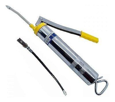 Engraxadeira Bomba De Graxa Manual Bico Flexível Rígido 500g