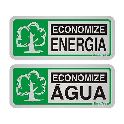 Placa de Sinalização Economize Energia/Água 05x12cm 2 peças