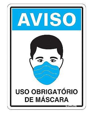 Placa de Sinalização Poliestireno 15x20 Uso Obrigatório de Máscara