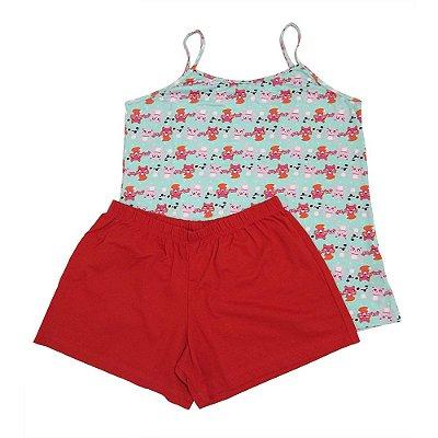 Pijama Estampado de Bichinho de Alça