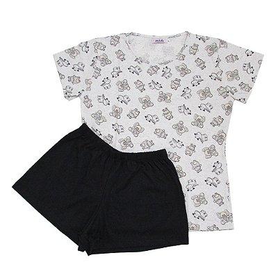 Pijama Estampado de Bichinho com Short