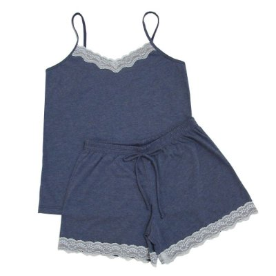 Pijama Baby Doll Azul com Renda