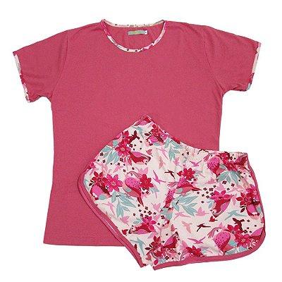 Pijama Estampado Passáro com Short Boxer