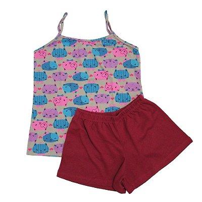 Pijama Estampado Gatinho com Alça
